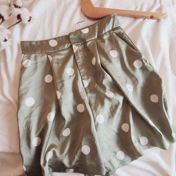Zara High Waist Satin Polka Dot Trouser Shorts XS